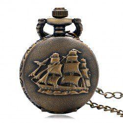 Vintage kapesní hodinky s plachetnicí