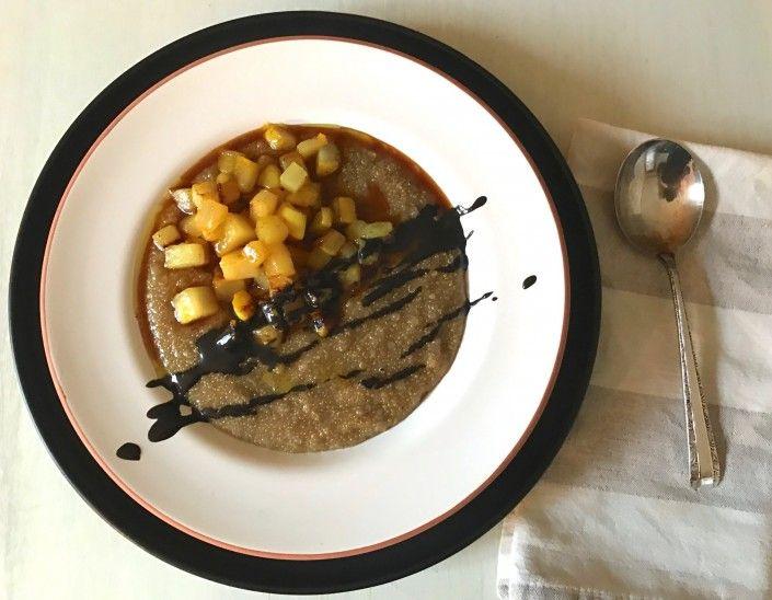 Amaranth Breakfast Congee w/ Turmeric Pears + Mandarin Syrup
