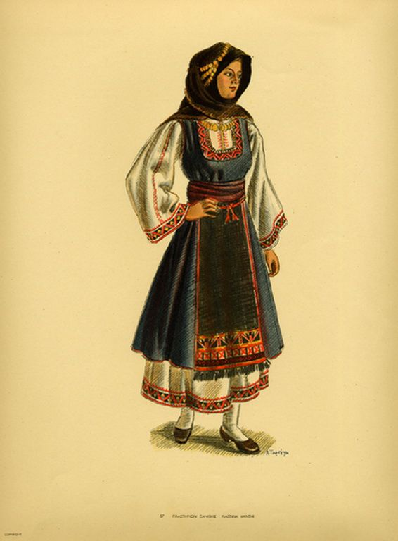 Φορεσιά Πλαστηριων Ξάνθης. Costume from Plastiria Xanthi. Collection Peloponnesian Folklore Foundation, Nafplion. All rights reserved.