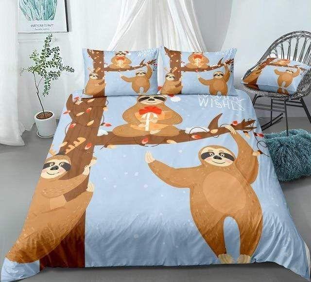 Christmas Sloths Bedding Set In 2021 Bedding Set Duvet Cover Sets Christmas Sloth