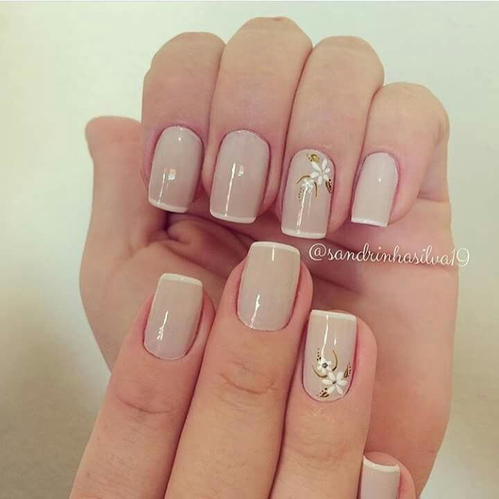 Nude nails with small print floral design