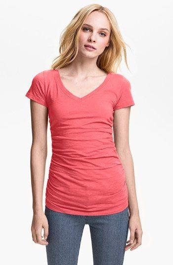 Caslon® Shirred V-Neck Tee (Regular & Petite) available at #Nordstrom...MOST flattering t shirt I've worn :)