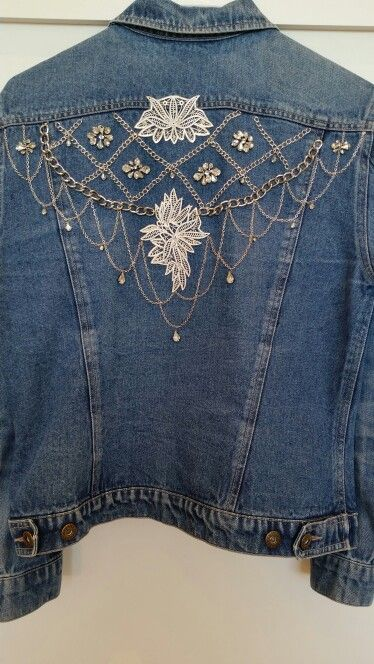 Embellished boho festival denim jacket upcycled streetwear. Not too over-the-top, perfect for everyday or Saturday nights. For other upcycled vintage wear Etsy store Clothes Don't Cheat