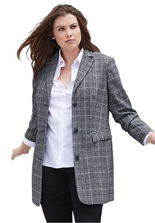 b500876a1a998 Ellos Women s Plus Size Long Wool Blend Blazer - Black White Plaid ...