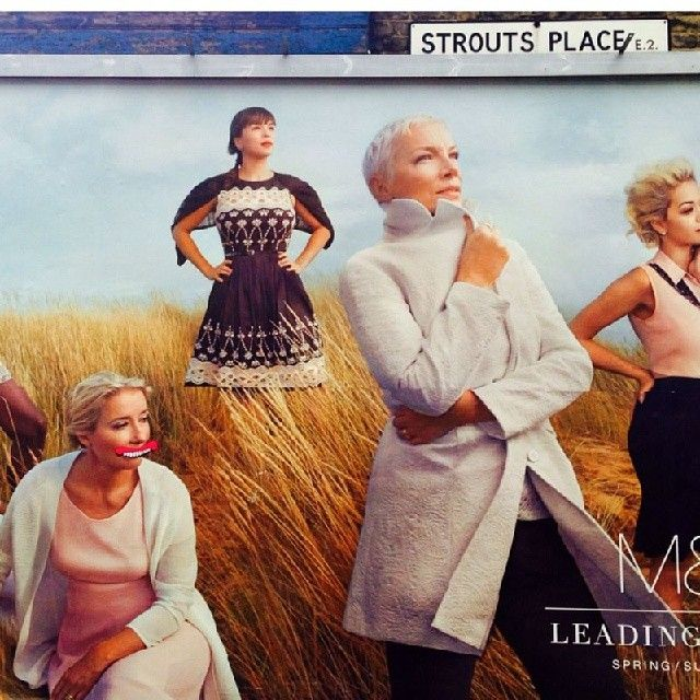 Look at M&S' new line-up, Emma Thompson, Annie Lennox & #sweettoof via @seeyourspace #graffiti #streetart