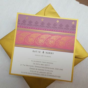 ENGAGEMENT http://www.notonthehighstreet.com/beautifulday/product/indian-pattern-gold-wedding-invitations