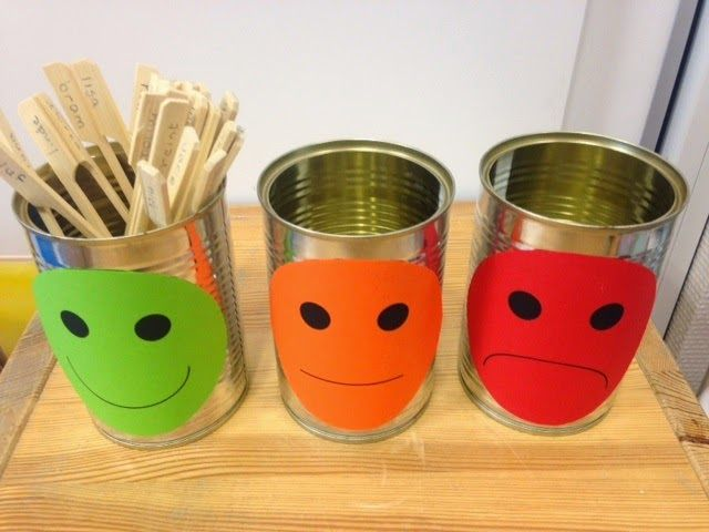 Via Pinterest kwam ik verschillende manieren tegen om concreet te maken hoe kinderen zich voelen gedurende of aan het eind van de dag. ...