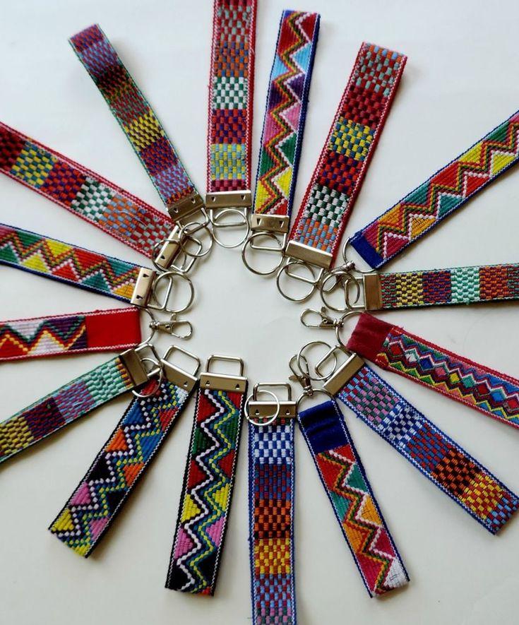 Boho key fob wrist lanyard hippie tribal key ring