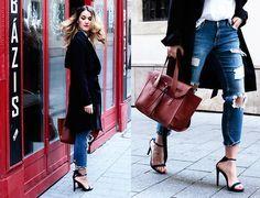 H&M Coat, Mango Heels, Zara Jeans, Mango Bag