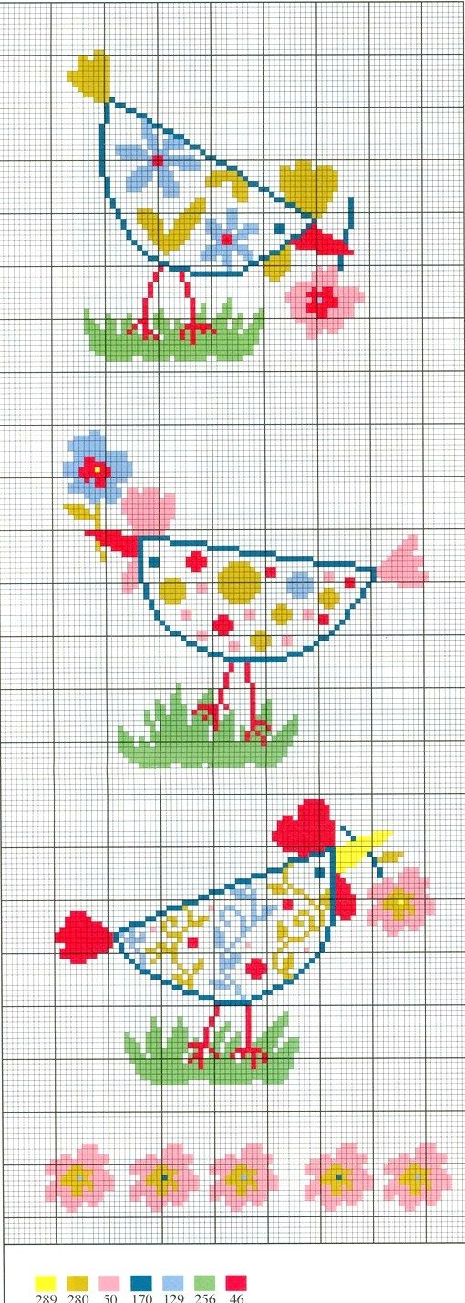 Cross-stitch Chicken ... no color chart available, just use the pattern chart as your color guide.. or choose your own colors...