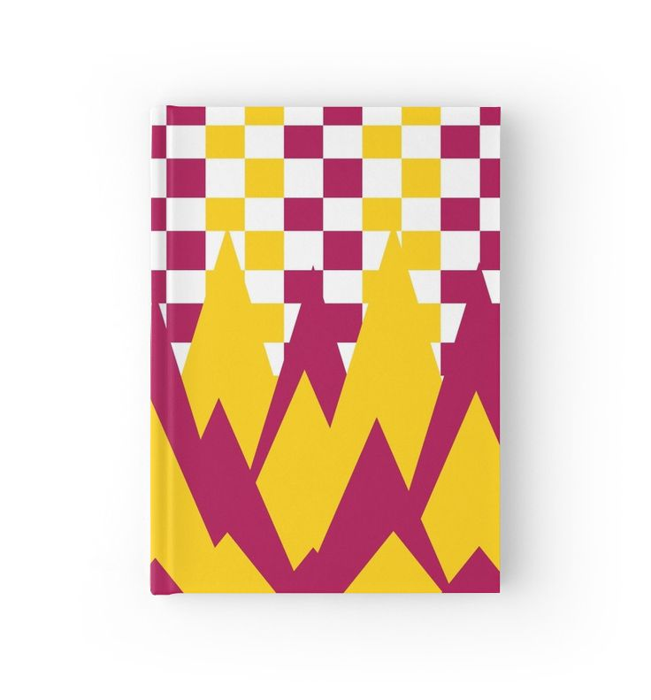 #Geometric #mountains in pink and yellow by cocodes #journal #notebook #Hardcover #redbubble