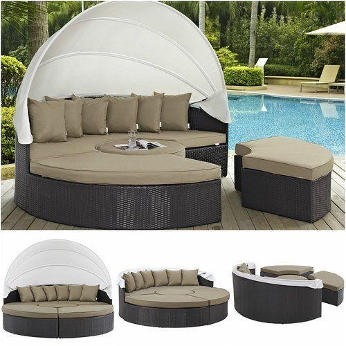 Outdoor-Daybed-With-Canopy-Round-Patio-Sofa-Retractable-Sunbed-Wicker-Rattan-New