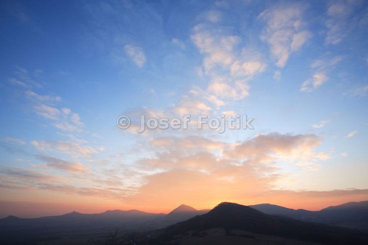 View from the Ostry Hill to the west, Ceske stredohori Mountains, Czech Republic