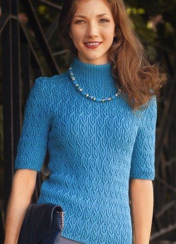 Пуловер с короткими рукавами фантазийным узором