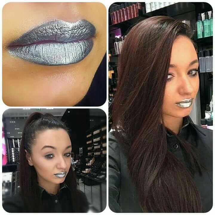 Metallic lips~mirror lips~platinum pigment~mac cosmetics