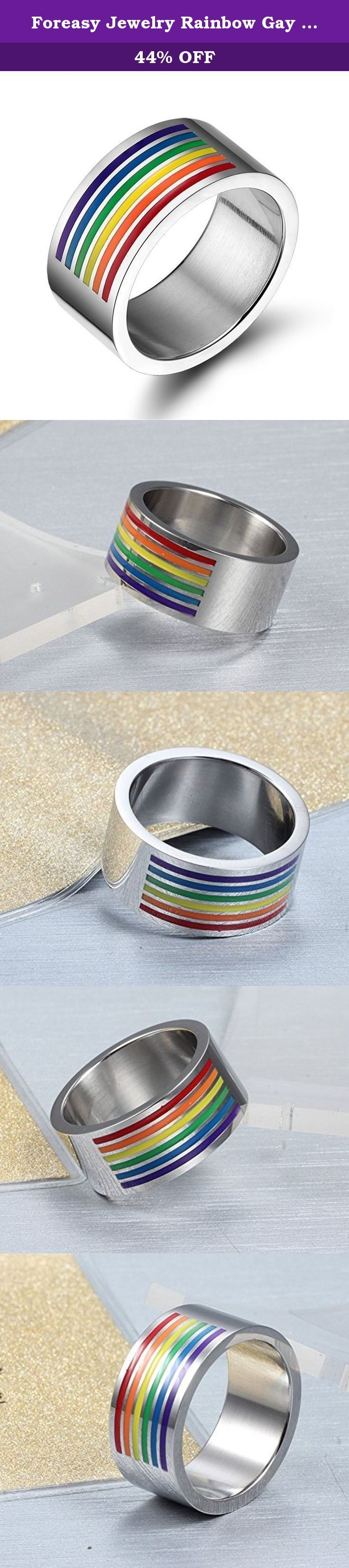 Foreasy Jewelry Rainbow Gay Lesbian Wedding Stainless Steel Band LGBT Pride Ring Size 8. The rainbow design is meaningful for us.We are eager for freedom and diversity.This Stainless Rainbow Ring will long last with you and your love.
