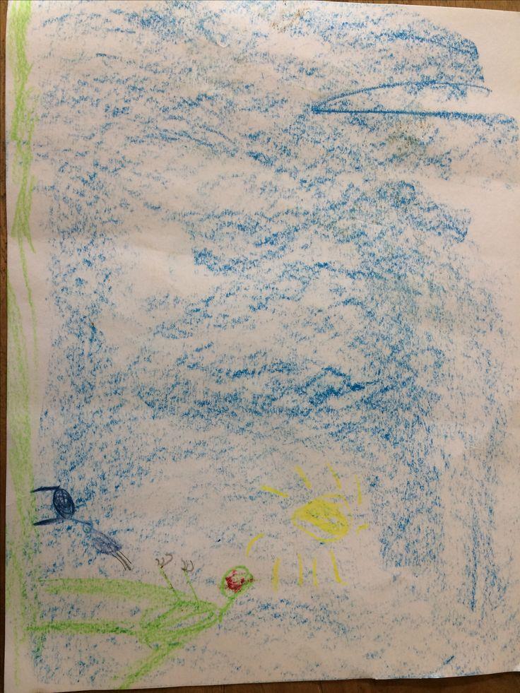 Hugo, 1e klas. Maart-april 2017. Tekening bij voorgelezen verhaal (#1)