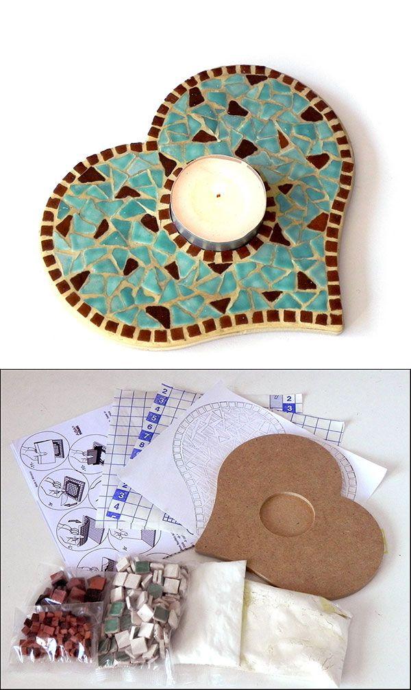 Mosaic Turquoise Blue Candle Stand - Mosaik Kerzenständer - Mosaique Bougeoir - Ceramic Mini Bits Tiles - Kit Craft Alea Mosaik