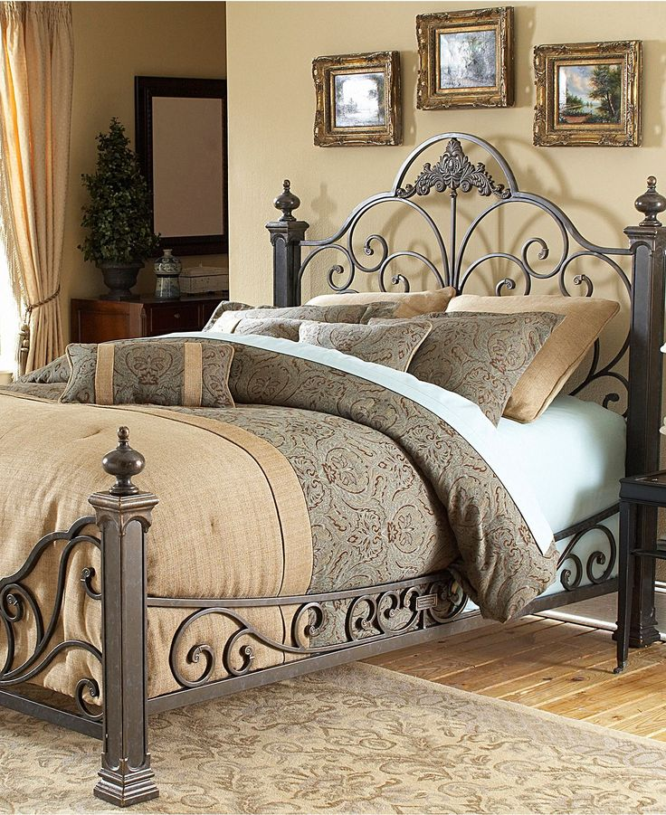 Manchester Gilded Slate King Bed, Metal Bed Frame - Beds - furniture - Macy's
