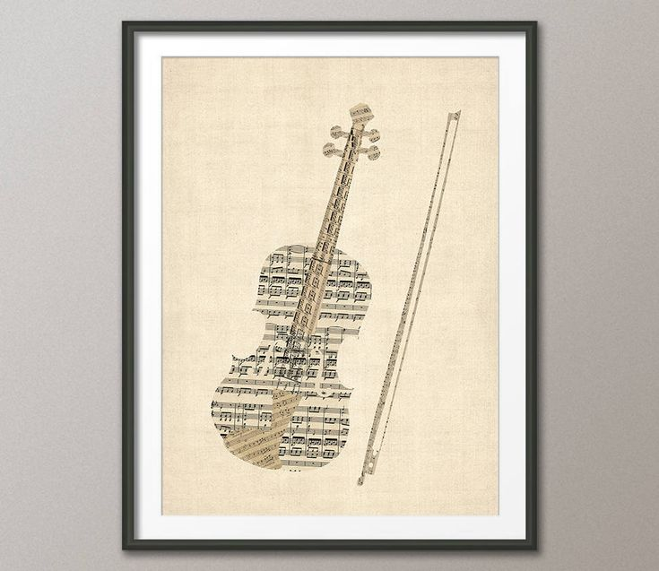 Violin Old Sheet Music Collage, Violin Poster, Art Print (2832) by artPause on Etsy