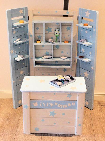 Kaufladen wei blau sterne punkte shabby von domis for P kitchen dc united