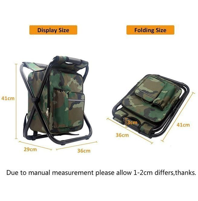 CAMPORT Folding Camping Chair Stool Backpack with Cooler Insulated Picnic Bag Hiking Camouflage Seat Table Bag Camping Gear for Outdoor Indoor Fishing Travel Beach BBQ