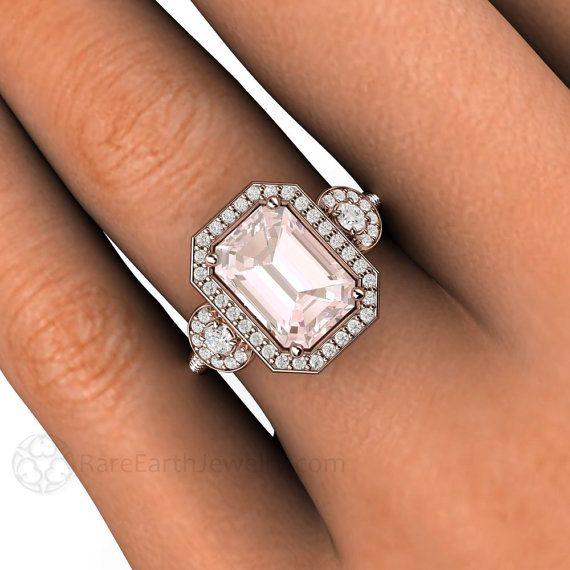 La morganite Engagement bague émeraude 3 diamant par RareEarth