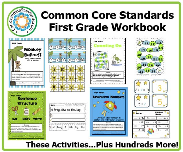 First Grade Common Core Workbook Download | Common Core Standards | Common Core Activities, Worksheets, and Workbooks.