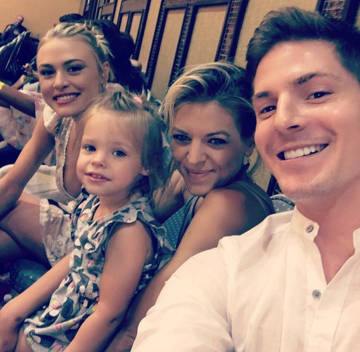 Haley Erin (Kiki), Kirsten Storms (Maxie), her daughter Harper, and Robert Palmer Watkins (Dillon)