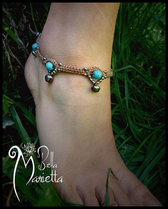 Tribal Summer festival macrame fairy bracelet anklet with turquoise gemstone via Etsy