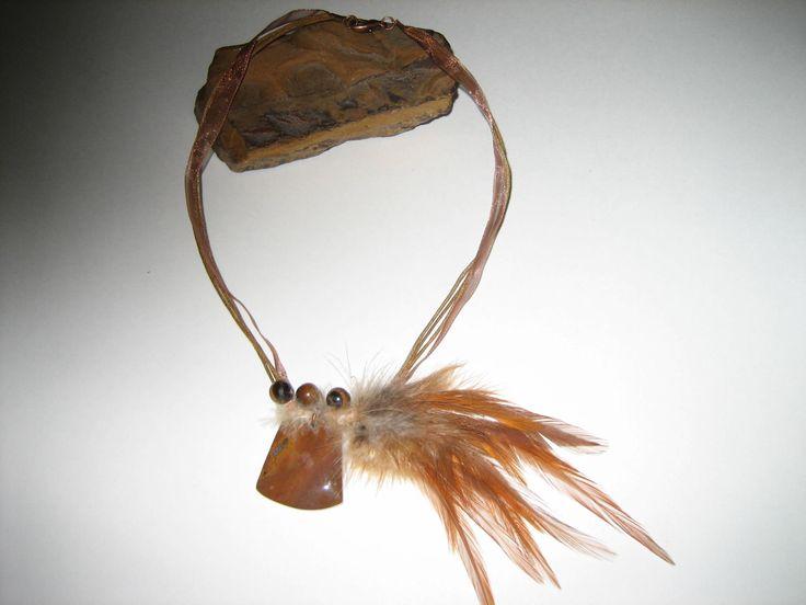 Collier unique plumes , oeil de tigre et jaspe avec effet thérapeutique possible Bohémien Hippie Indien Art à porter by Noukshouk on Etsy