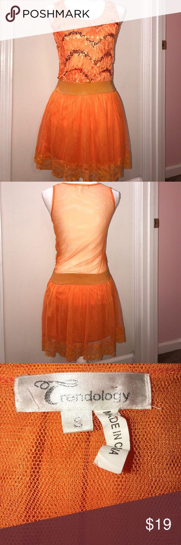 Trendology Orange Sequin Dress Size Small Size Small Trendology Dresses