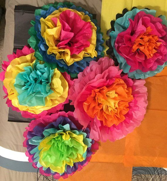 Set Of 5 Large Fiesta Flowers Colorful Tissue Paper Flowers Pom