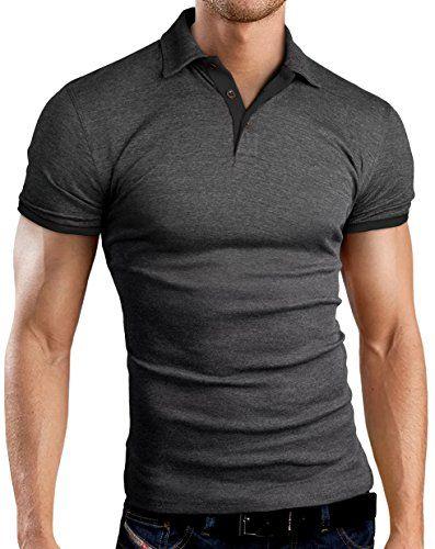 Grin&Bear Slim Fit kontrast Polohemd Poloshirt Polo, Anthrazit-Schwarz, L, GB160