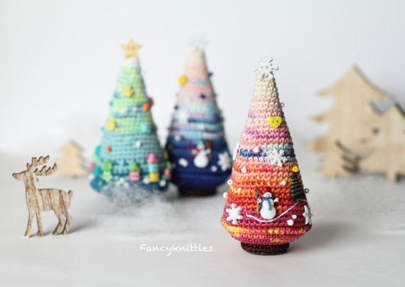 Crochet Christmas tree unique art winter holiday by FancyKnittles