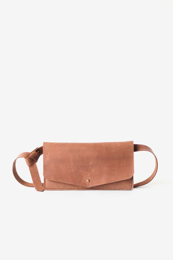 Belt bag leather brown, leather waist bag, leather waist pack, leather handmade…