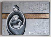 Dipinto acrilico su tela - Sacra famiglia stilizzata - oro e argento
