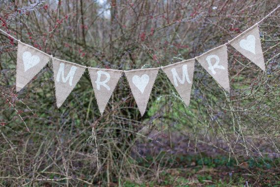 Mr & Mr With Hearts Bunting  Vintage Handmade by MadeByMeAndMum