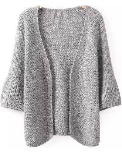 Grey Half Sleeve Knit Loose Cardigan 22.67