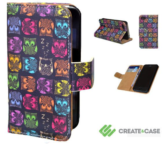 "Artist Designed - iPhone 4/4s  flip case / cover - Unique & colorful leather style flip case  - ""Sherbet Owls"" cute colorful owls"