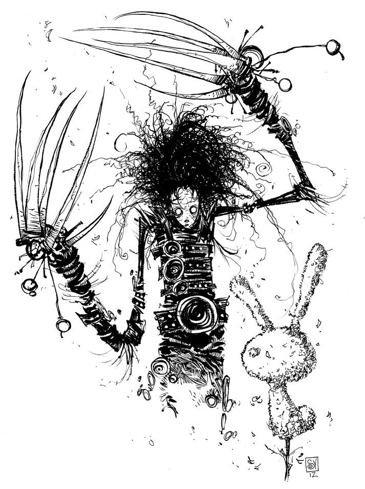 Today's daily sketch was a Twitter suggestion. Edward Scissorhands BLEW MY MIND when I was young. That and Beetlejuice were really big movies of my childhood and I watched them both more than I can count. I think I rented Beetlejuice once a month...