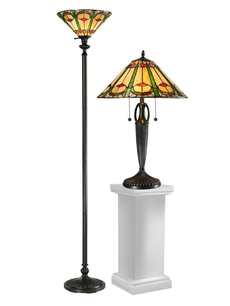Quill Table Lamp and Floor Lamp Set with Cone Shade