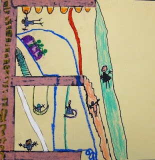 geweldige les! Zo groot als mogelijk een letter laten tekenen met potlood. Daarna structuur en details aan toe laten voegen zodat het een speeltuin wordt. De lijnen overtrekken met zwart en inkleuren met oliepastel in primaire kleuren. Kinderen uitdagen om kleuren te mengen.