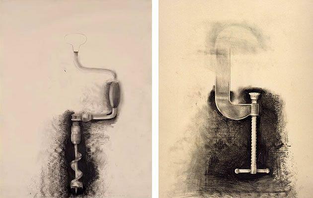 Jim Dine tool drawings - purposefully incomplete