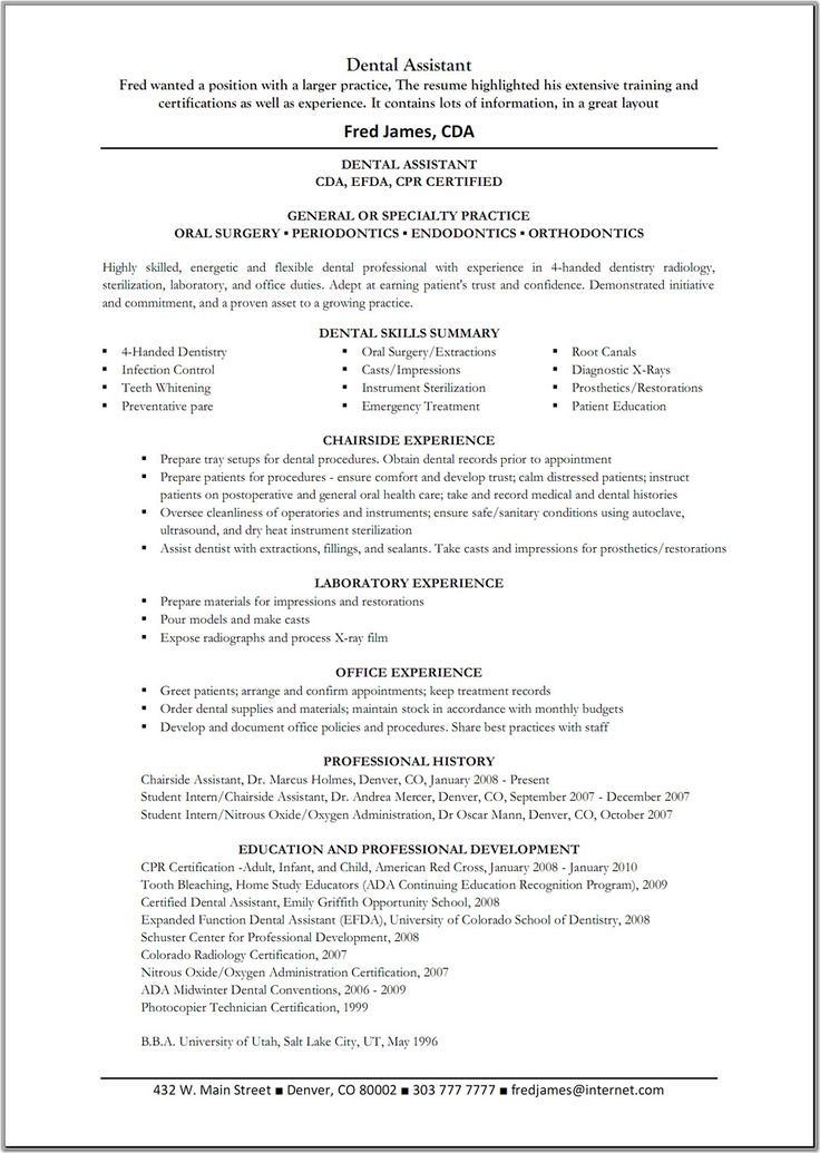 High Quality Dental Assistant Resume | Dental Assistant Resume