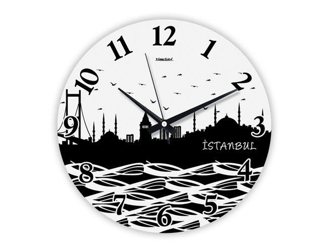 Dekoratif İstanbul Silüeti Duvar Saati Modeli  Ürün Bilgisi;  Gerçek cam kullanılmıştır Sessiz akar saniye Çap 36 cm. Gayet şık ve aynalı duvar saati Yeni model duvar saati Ürün resimde olduğu gibidir