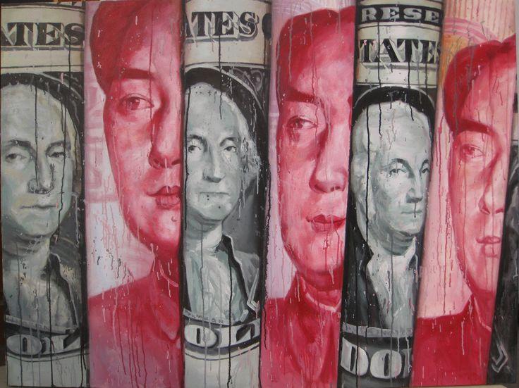 RMB vs. USD 2013  120 x 160cm Acrylic on canvas