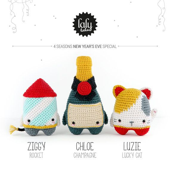 lalylala NEW YEARs EVE crochet pattern (printable PDF-file / 14 pages)   • firework rocket ZIGGY • bottle of Champagne CHLOE • lucky cat (Maneki Neko) LUZIE   . . . . . . . . . . . . . . . . . . . . . . . . . . . . . . . . . . . . . . . .  THE STORY  « The year is almost over, and we wanted to clear away some old clutter as we found a yellowed folder with a TOP SECRET label in a dusty box. Yippie! There is nothing better than sharing secrets with friends, and today we are going to blab t...