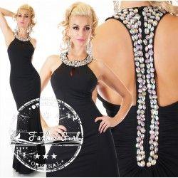 Rochie eleganta lunga neagra Diamond Shatter
