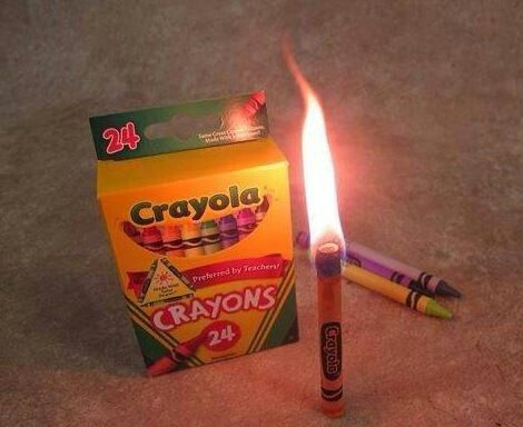 A crayon can burn for 30 minutes for light. Crayoloa Crayons work the best. This is something that is small and easy to put into your disaster kit.